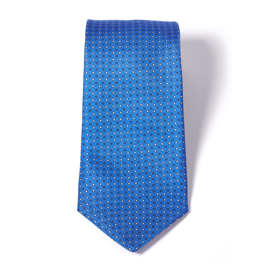 Blue Printed Micro Dot Silk Tie
