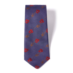 Blue Tonal Red Floral Silk Tie