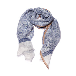 Blue Printed Soft Linen Scarf with Pattern
