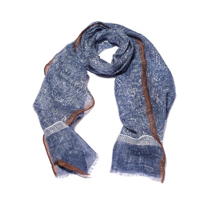 Dark Blue Printed Linen Scarf