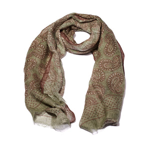 Green Printed Soft Linen Scarf