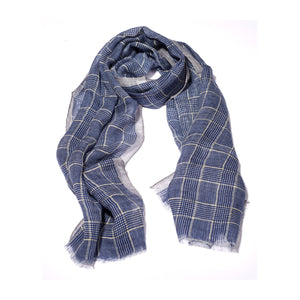 Blue Check Printed Linen Scarf
