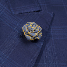 Load image into Gallery viewer, Grey Rose Pin with Yellow Stripe for Jacket