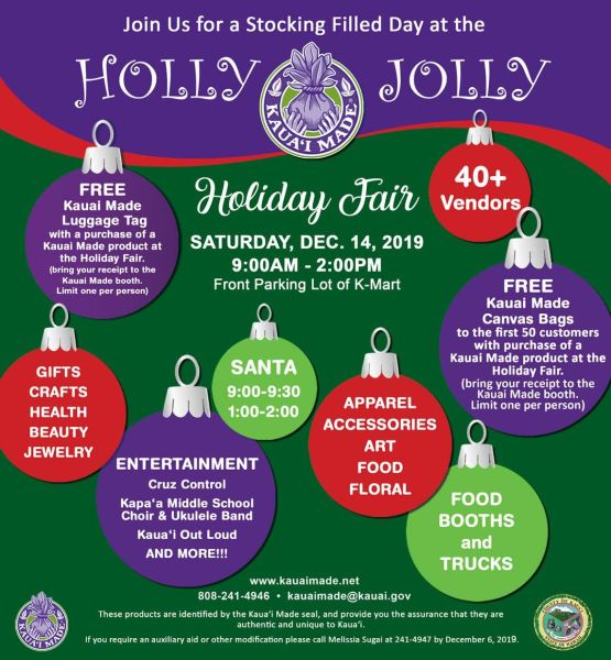 2019 Kaua'i Made Holly Jolly Holiday Fair - Saturday December 14