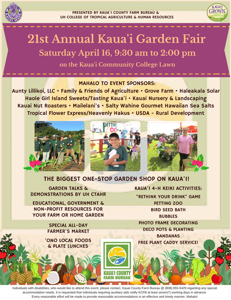 21st Annual Kaua'i Garden Fair - Saturday April 16, 2016