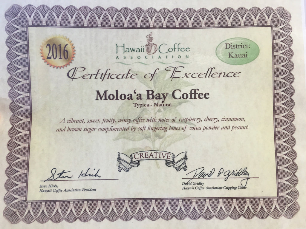 Moloa'a Bay Coffee Named HCA Cupping Competition Kaua'i District Winner