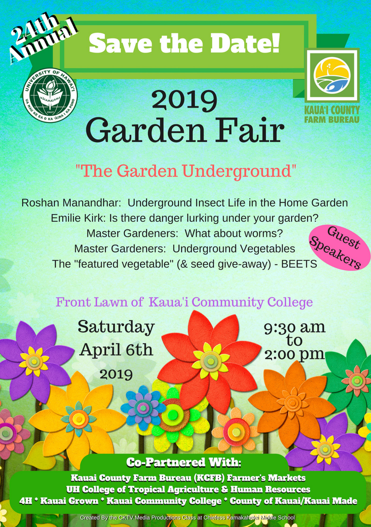 24th Annual Kaua'i Garden Fair - Saturday April 6, 2019