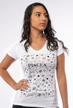Load image into Gallery viewer, PISCES - FOIL PATTERN DESIGN - WOMENS V NECK TEE