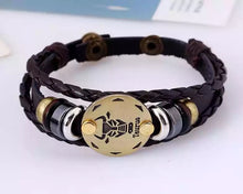 Load image into Gallery viewer, Zodiac Sign Leather Wrap Unisex, Mens Bracelet