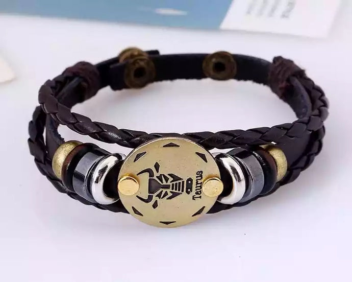 Zodiac Sign Leather Wrap Unisex, Mens Bracelet