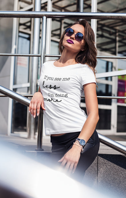 SEE ME LESS - WOMENS V NECK TEE