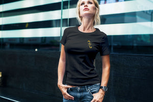 Pisces Gold Foil on Black Womens V neck Tee