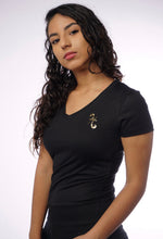 Load image into Gallery viewer, Pisces Gold Foil on Black Womens V neck Tee
