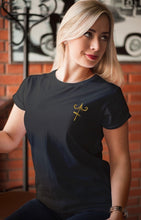 Load image into Gallery viewer, Sagittarius Gold Foil on Black Womens V neck Tee