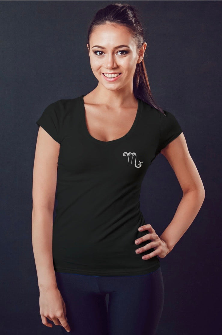 Scorpio Silver Foil on Black Womens V neck Tee
