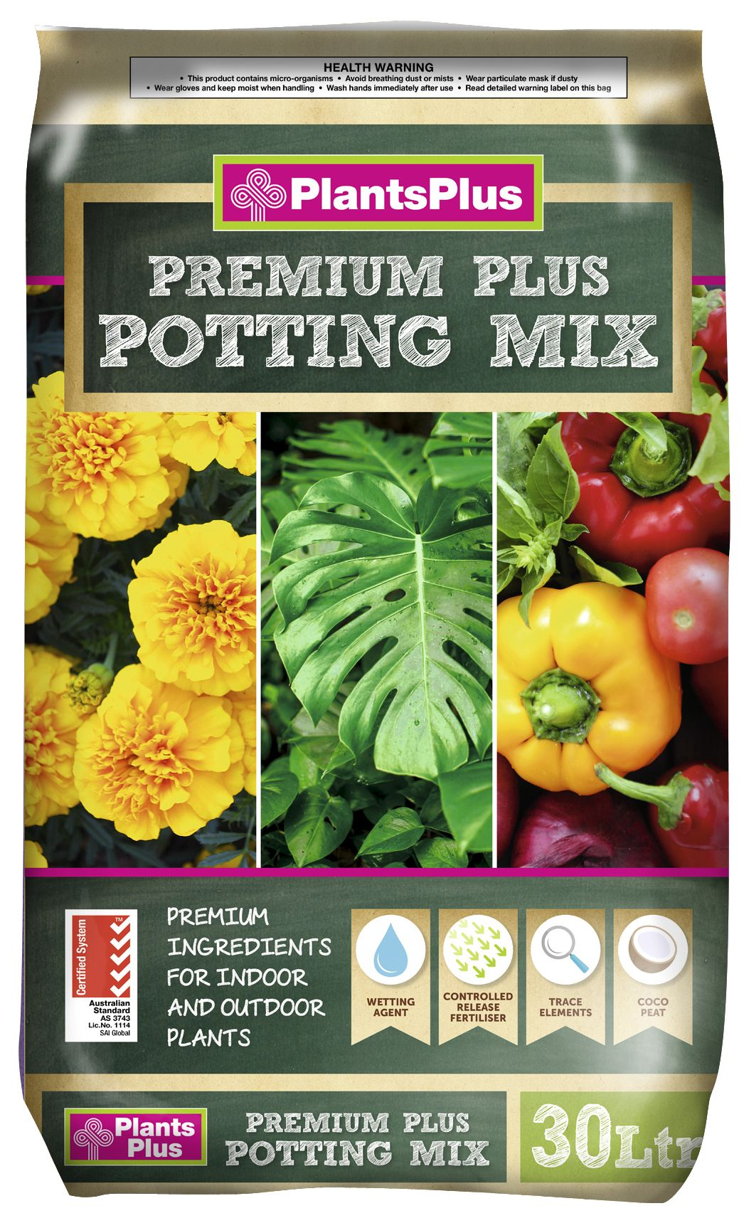 POTTING MIX - PLANTS PLUS PREMIUM MULTI VALUE PACK 3 FOR $36