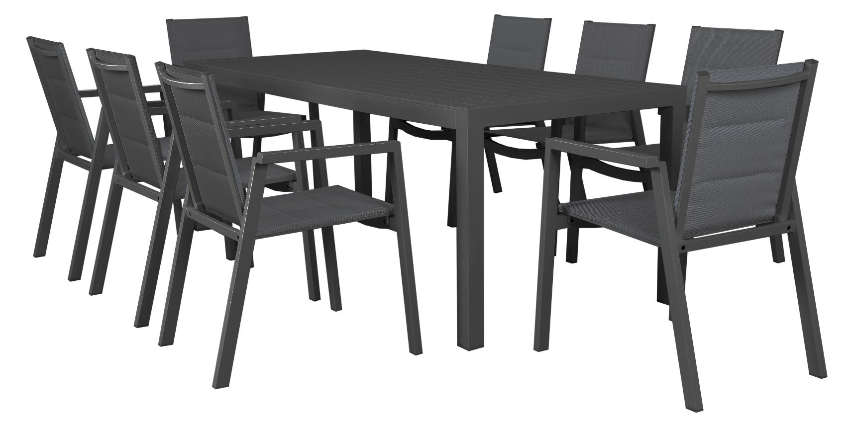 MATZO ALUMINIUM DINING TABLE 2100MM WITH 8 PADDED CHAIRS