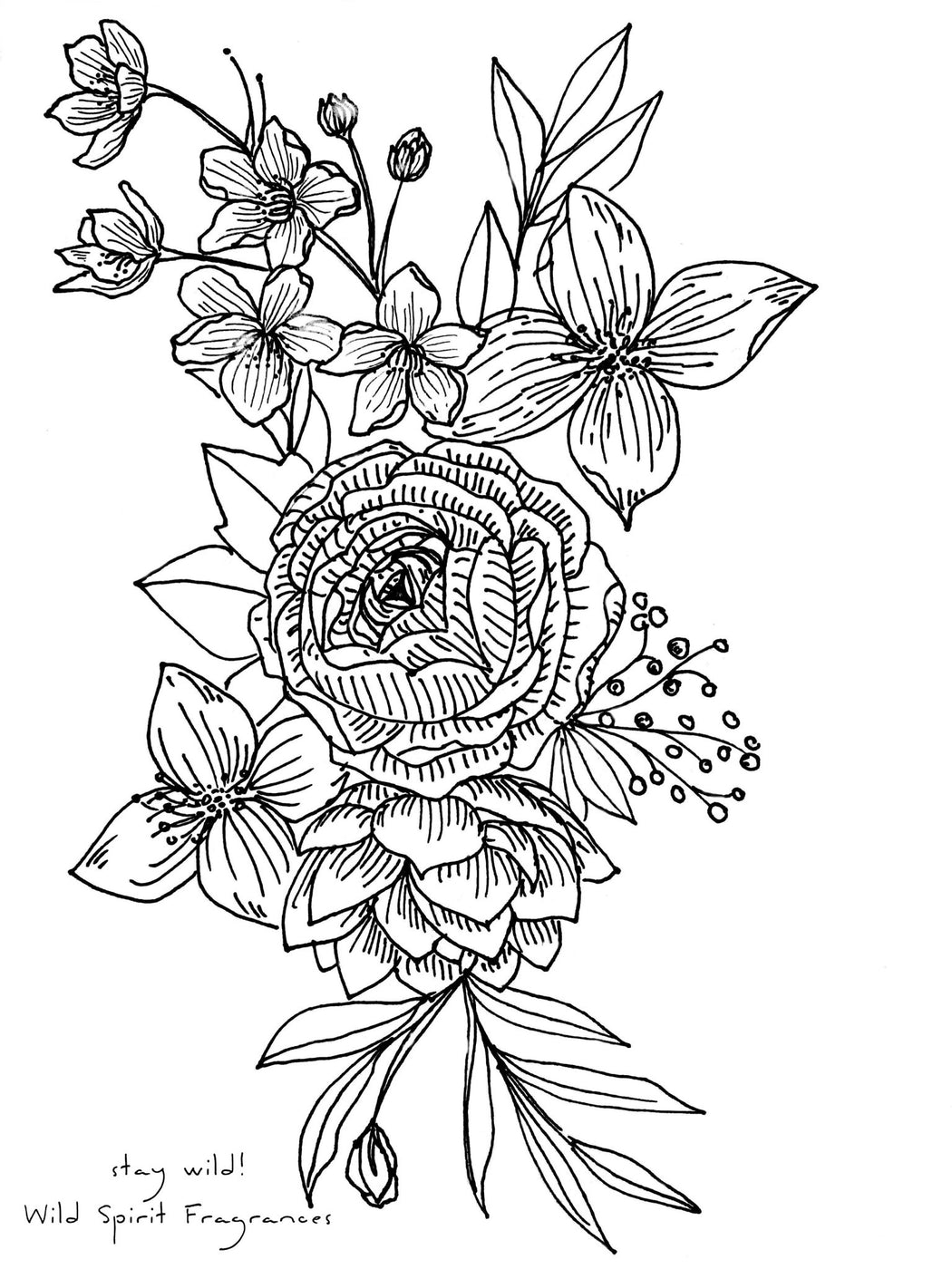 Coloring Page, Free Printable Instant Download, Boho Bouquet - Wild Spirit