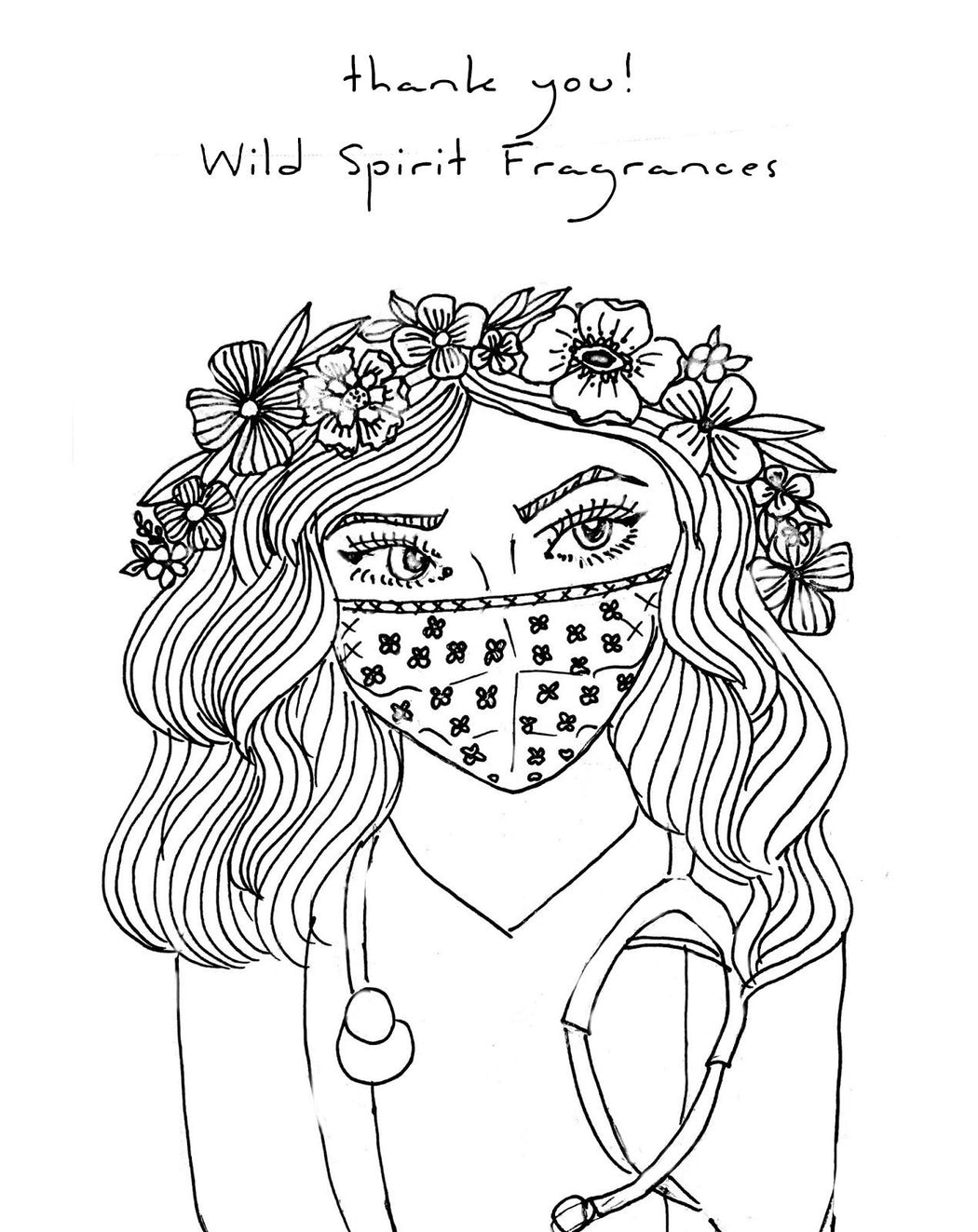 Coloring Page, Free Printable Instant Download, Thank You Nurses - Wild Spirit