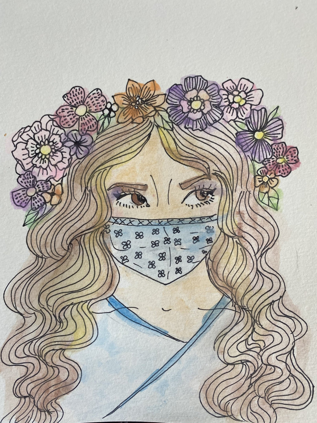 Coloring Page, Printable Instant Download, Cute Face Mask - Wild Spirit