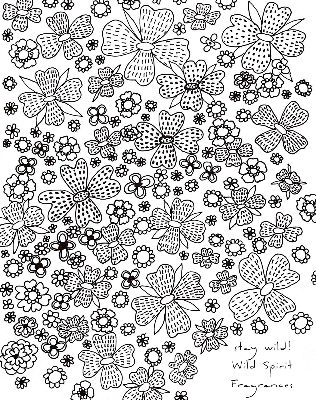 Coloring Page, Printable Instant Download, Flower Power - Wild Spirit