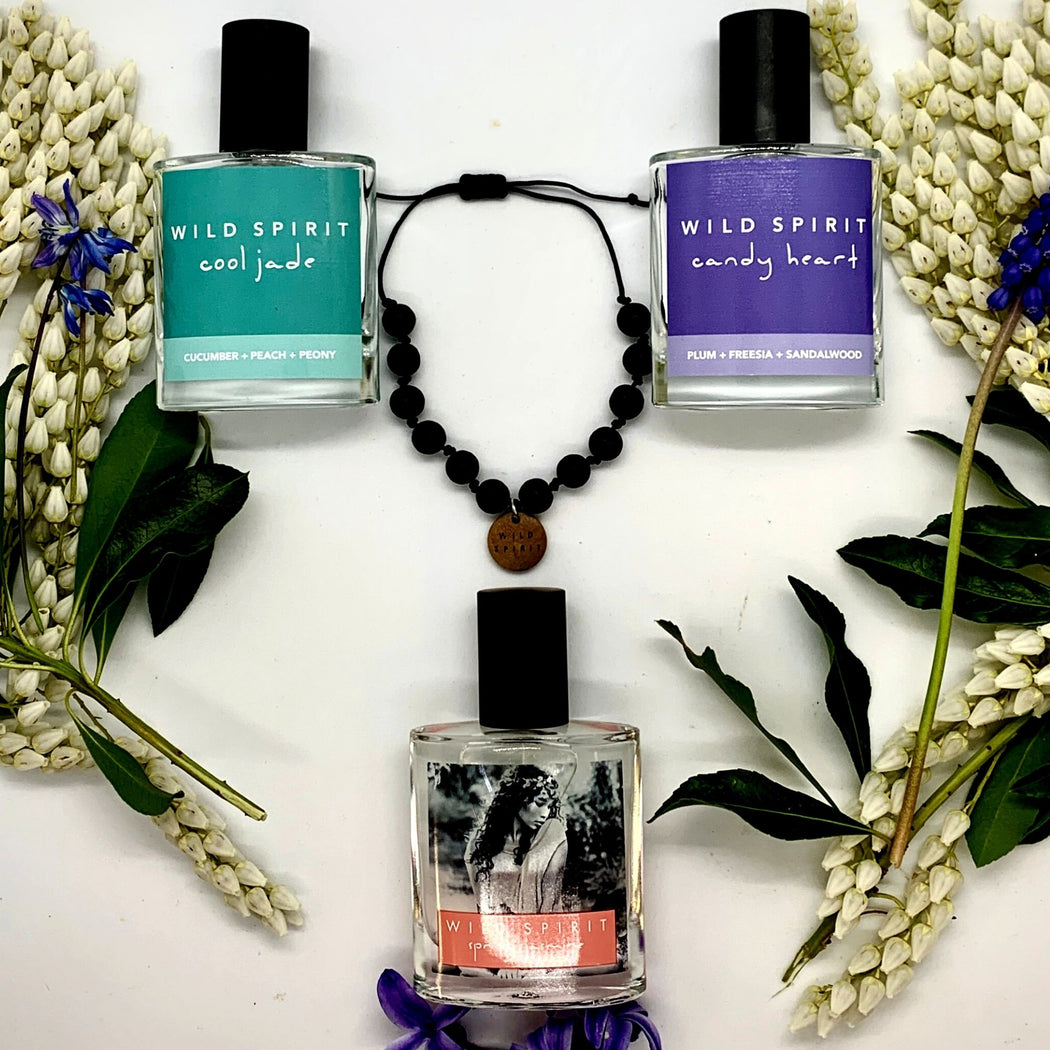 The Wild Spirit Fragrances Flower Power Perfume Collection gives flowers for Mother's Day a whole new meaning, with something different she can enjoy every day.   With Spring Jasmine, Candy Heart, Cool Jade, and a Lava Bead Bracelet, this fresh take on flowers for Mom is feminine, sassy, and uplifting just like her!