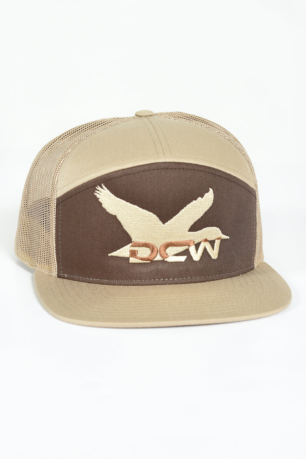 Dixie Creek Mallard - 7 Panel Trucker Hat - BROWN/KHAKI