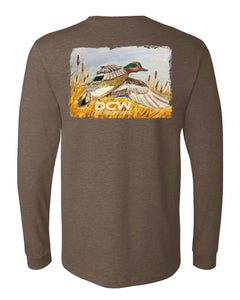 Green Wing Express - Heather Brown Long Sleeve