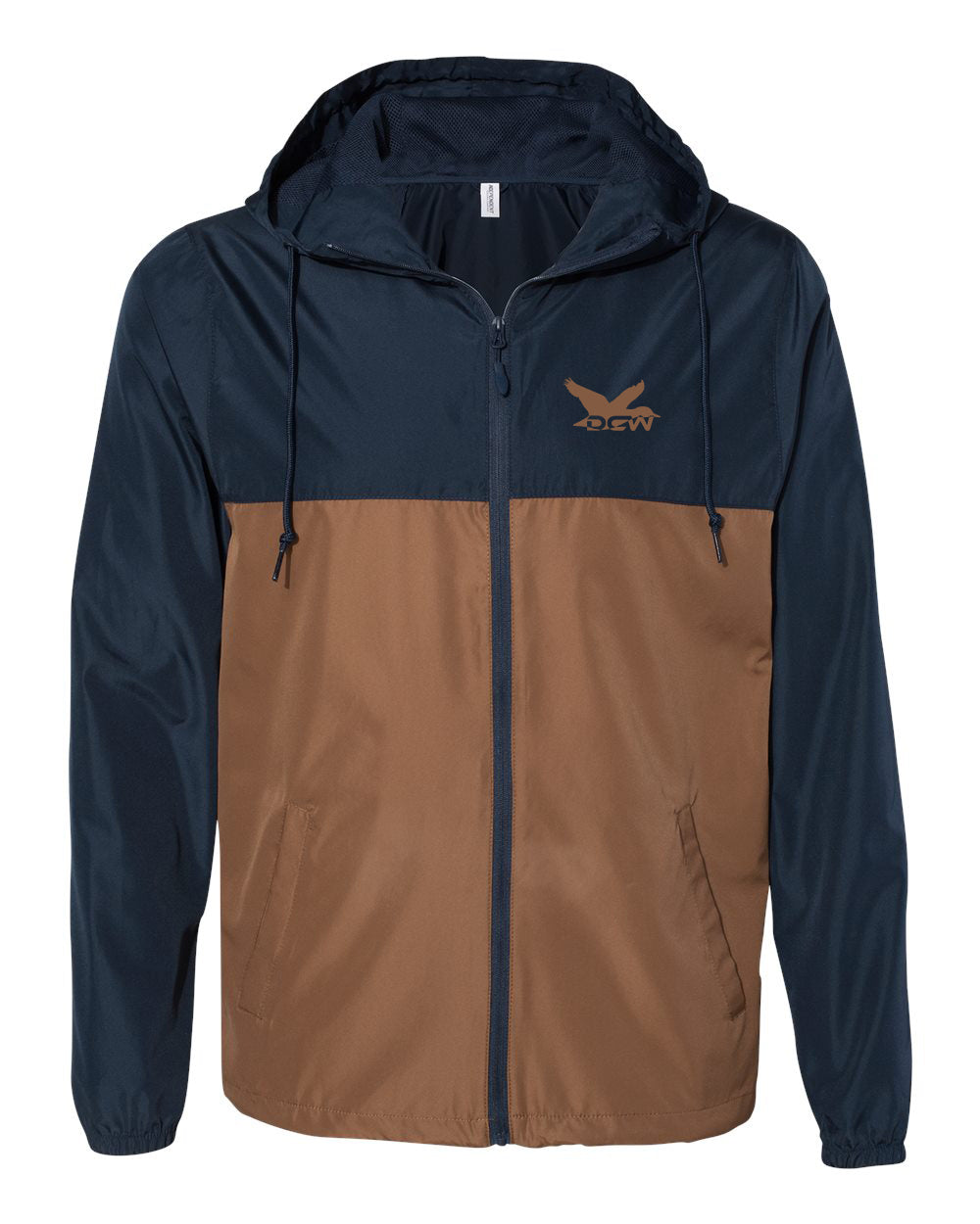 DCW Water-Resistant Windbreaker - Navy/Saddle