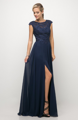 Beaded Lace Bodice Chiffon Dress with Cap Sleeve