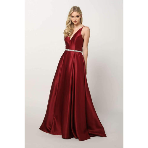 A-Line Long Satin Dress With A Rhinestone Belt - Stage 9 Secrets - Dress