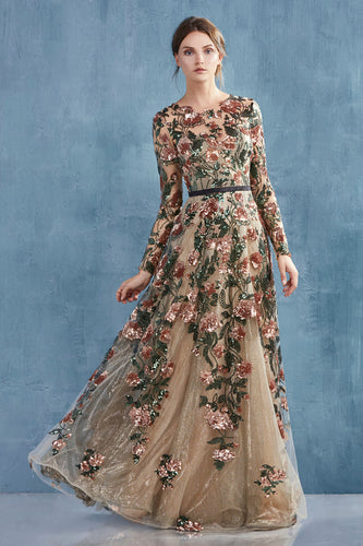 Copper Floral Sequined long sleeve gown
