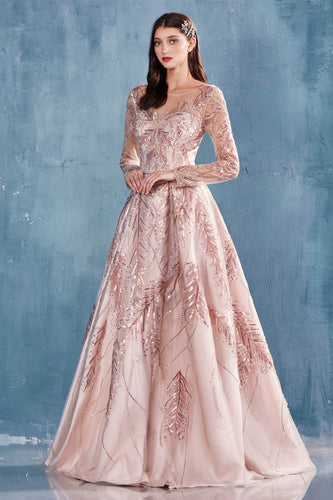 Long Sleeve Rose Gold Embroidered Ball Gown
