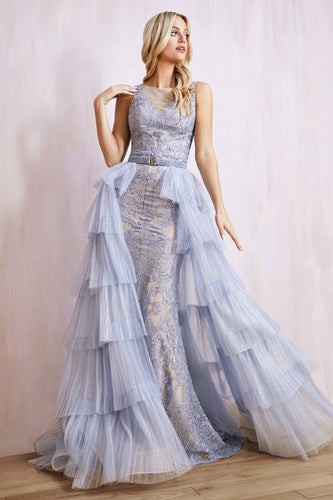 Blue Lace Gown With Detachable Teired Tulle Overskirt