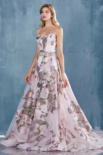 Floral Print Ball Gown with OverSkirt