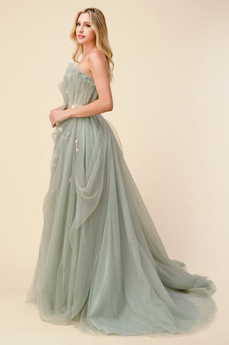 Bridgerton Inspired Sage Tulle Ball Gown