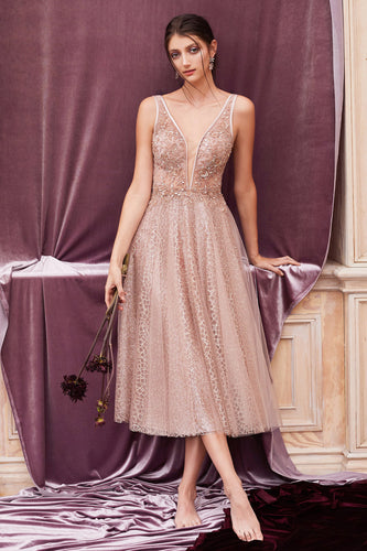 Rose Gold Tea Length Couture Party Dress