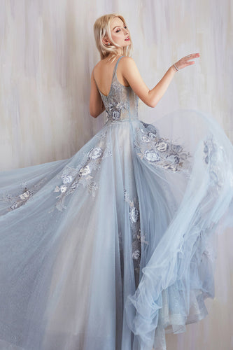 Paris Blue Lace And Embroidered Ball Gown
