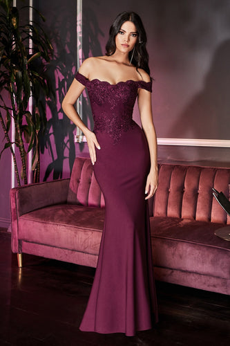 Off The Shoulder Fitted Jersey Gown With Lace Details