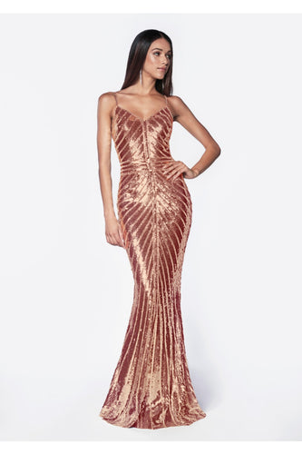 Fitted metallic sequined gown