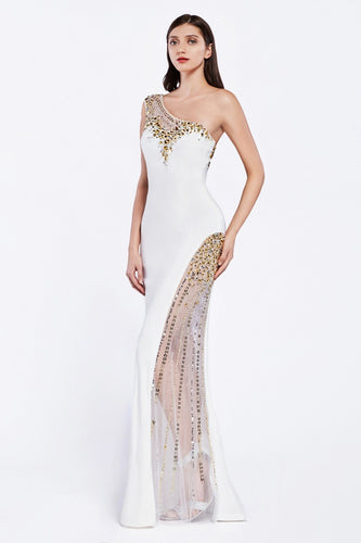 One shoulder off white illusion dress with gold beads