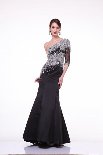 A-Symmetrical One shoulder Gown With Sleeve