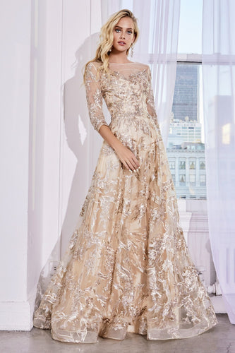 Long Sleeve Gold and Champagne Gown