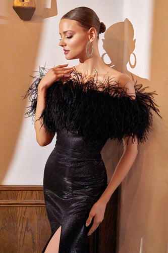 Off Shoulder Black Feather Gown