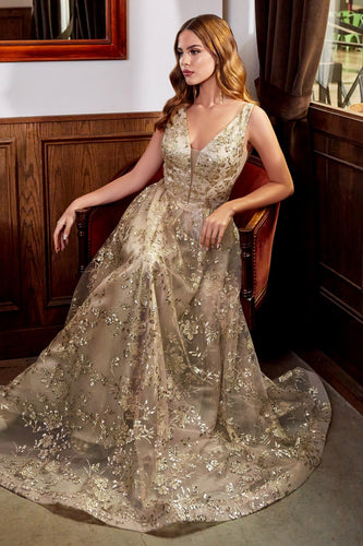 Floral and Vine Embellished Gold Leaf Gown