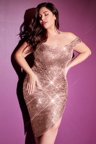 Asymmetrical Sequin Party Dress Plus Size