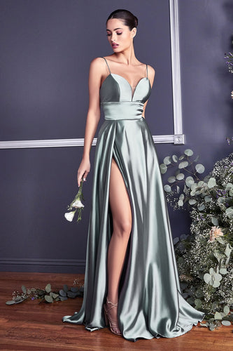 Classic A-Line Satin Gown With Leg Slit