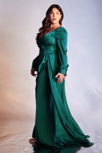 Long Sleeve Satin Wrap Dress Plus Size