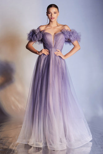 Purple Ombre Tulle Gown
