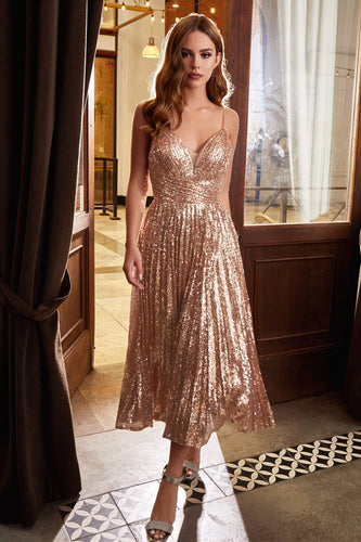 Tea Length Rose Gold Sequin Dress